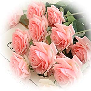 cn-Knight Artificial Flower 12pcs 17'' Artificial Rose Blossom with Leaves Gel Coated Silk Flower for Wedding Bridal Bouquet Bridesmaid Home Décor Office Baby Shower Centerpiece,Pink 33