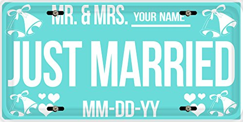 BleuReign(TM) Personalized Custom Name and Date Just Married Car Vehicle License Plate Auto Tag (Tags Hang Bridal)