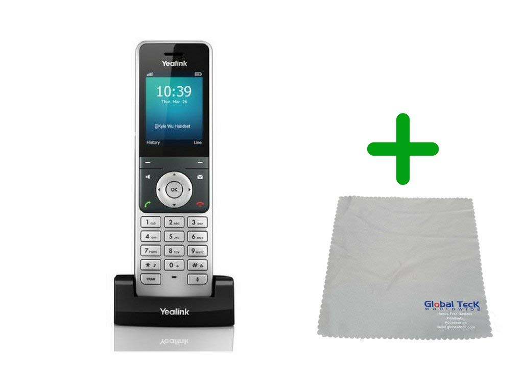Yealink W56H IP Cordless Office Phone with Power Supply and Microfiber Cloth | Requires VoIP Service - Vonage, Ring Central, 8x8, Mitel or Cloud Services #YEA-W56H-B