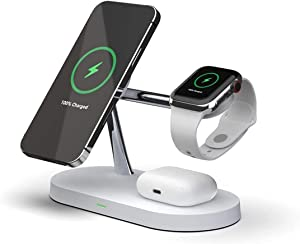 Levias 3 in 1 Wireless Charging Station for iPhone 12, Pro, Pro Max, Mini, Watch and Air pods with Mag Safe Support and incl. Fast Charger. Integrated Night Lamp