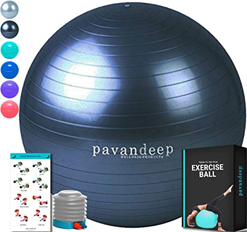 Pavandeep Exercise Ball Anti Burst Stability Balance Balls for Fitness Yoga Gym, Use As Desk Chair, Pump Included, Phthalate Free (Charcoal New, M (65cm)) ()