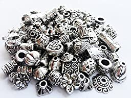 Crafty EC-5004 120-Piece Bali Style Jewelry Making Metal Bead Caps Deluxe New Mix, 40gm, Silver