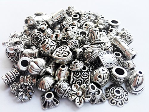 Crafty EC-5004 120-Piece Bali Style Jewelry Making Metal Bead Caps Deluxe New Mix, 40gm, (Bali Beads Beading)