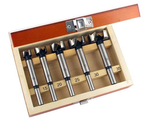 ENT 25100 Set di punte Forstner in 5 pezzi WS Ø 15-20 - 25-25 - 30-35 mm - Trapano per eseguire facilmente fori ciechi in legno tenero. ENT European Norm Tools