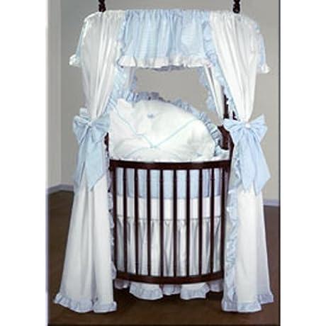Baby Doll Bedding Darling Pique Round Crib Bedding Set Blue