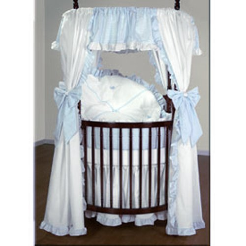 (Baby Doll Bedding Darling Pique Round Crib Bedding Set, Blue)