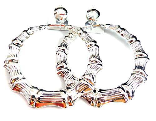 Clip-on Earrings Silver Bamboo Hoop Earrings 3 inch Hoops Non Pierced Ears
