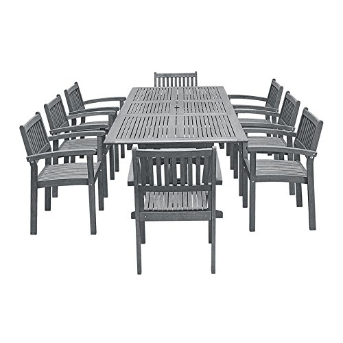 - Vifah V1294SET24 Outdoor Patio Dining Set with Extension Table, Hand-Scraped Wood
