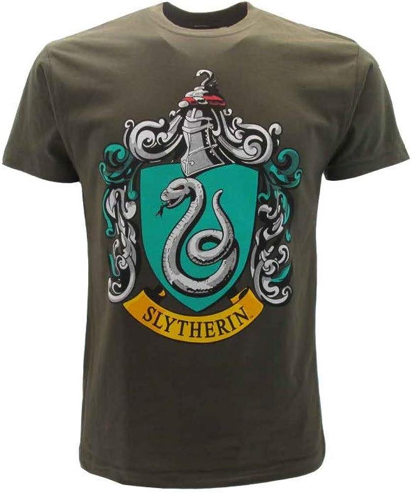 T-Shirt Maglietta Harry Potter Stemma Casa Serpeverde Ufficiale con Etichetta di Originalit/à