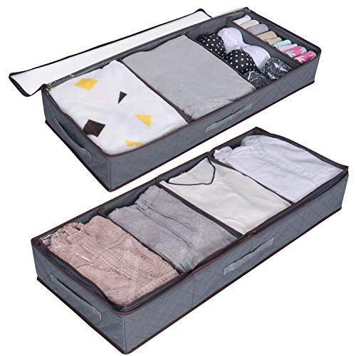 Lifewit Under Bed Clothes Organizer Large Adjustable Dividers Storage Bag with Durable Fabric, Reinforced Handle, 4 Clear Window for Clothing, Shoes, Blankets, Sweaters, Toys, Grey, 2 Pack (Best Under Bed Storage For Dorms)