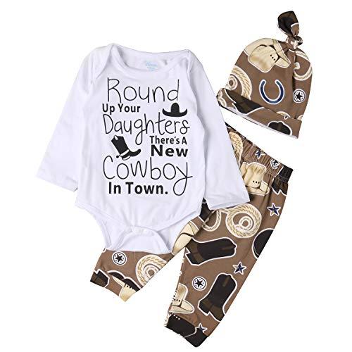 Cowboy Outfit For Boy (Newborn Infant Baby Girl Boy Romper+Cowboy Long Pants Hat 3pcs Outfit Set (Khaki, 3-6)