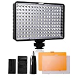 LED Video Light, SAMTIAN Dimmalble Ultra Bright Dimmable Camera Photo Light Panel for Canon Nikon Pentax Panasonic Sony Samsung and Olympus Digital SLR, 950LM, 93CRI+, Rechargeable Battery Included