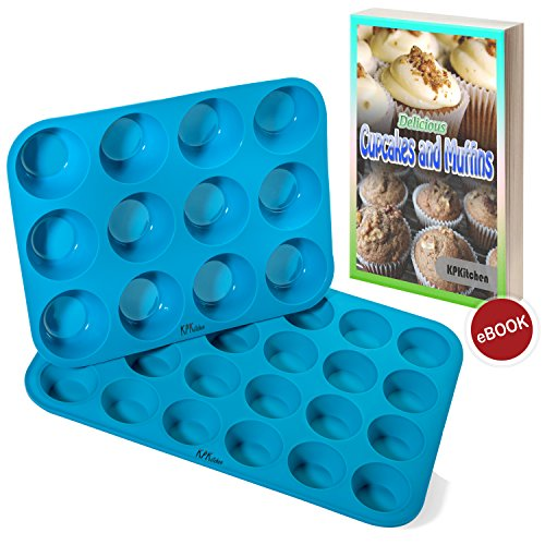 Silicone Muffin & Cupcake Baking Pan Set (12 & 24 Mini Cup Sizes) - Non Stick, BPA Free & Dishwasher Safe Silicon Bakeware Pans/Tins - Blue Top Home Kitchen Rubber Trays & Molds - Free Recipe eBook (Toaster Mini Oven Muffin)