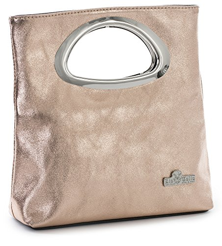 Rhea by LiaTalia Plain Italian Suede Leather Top Handle Small Foldable Evening Purse Clutch Bag with Dust Protection Bag - (Metallic - Rose Gold)