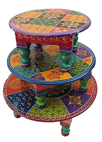 Wooden Round Chowki or Stool Set of 3 Handmade Handicraft Gift Item Home Decor Showpiece