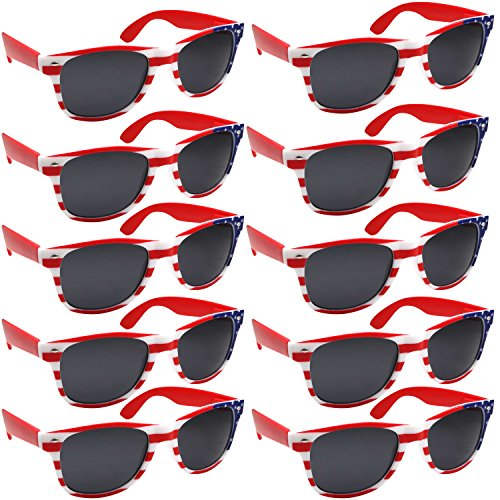 BULK WHOLESALE UNISEX 80'S RETRO STYLE BULK LOT PROMOTIONAL SUNGLASSES - 10 PACK (American Flag / - Sun American Glasses Flag