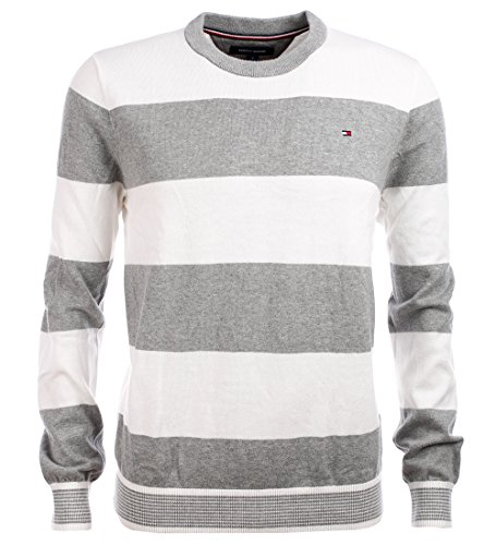 Tommy Hilfiger Men's Striped Crewneck Sweater (L, Grey/White)