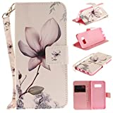 Misteem Case for Samsung Galaxy S8 Animal, Cartoon Anime Comic Leather Case Wallet with Bookstyle Magnetic Closure Card Slot Holder Flip Cover Shockproof Slim Creative Pattern Shell Protective Cover for Samsung Galaxy S8 [Flower]