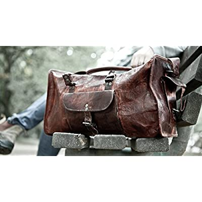 412b6591fb52 HLC Vintage Genuine Leather Handmade Vintage Duffel Luggage Travel ...