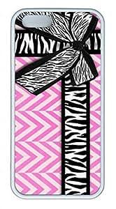 iPhone 5C Case, iCustomonline Girly Zebra Ribbon & Bow, Pink Chevron Stripes Case for iPhone 5C