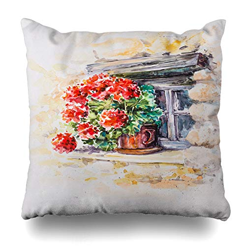 - Ahawoso Throw Pillow Covers Nature Green Painting Pot Geraniums Window Historic House Stone Ancient Architectural Design Bouquet Home Decor Pillowcase Square Size 20