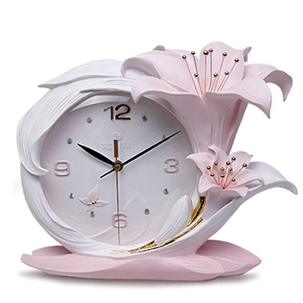 HONGNA Creative Resin Table Clock Living Room Stereo Clock Decoration Modern Fashion Desktop Art Decoration Bedroom Clock Simple Clock, Perfume Lily Small Fresh Table Clock Quality Assurance 3629cm by HONGNA (Image #1)