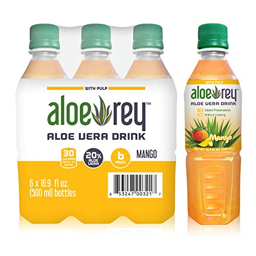 New Aloe Rey Naturally Flavored Aloe Drink with Pulp, 30 Calories per serving, No Preservatives, 16.9 oz. bottle. (Mango, Pack of 6)
