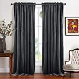 RYB HOME Velvet Bedroom Curtains - Soft Window Covering Thermal Insulated Half Blackout Texture Drapes for Home Theater/Studio, Hang with Rod Pocket/Clips, Wide 52' x Long 84', Grey, 2 Panels