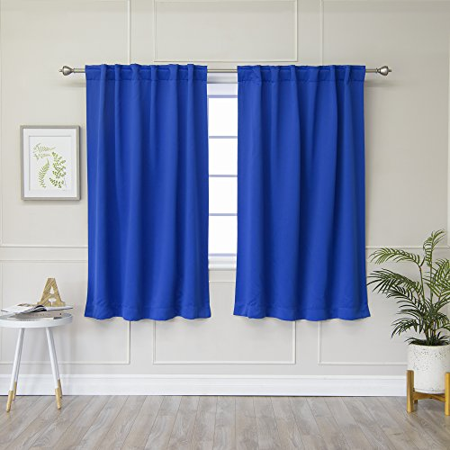 Best Home Fashion Thermal Insulated Blackout Curtains - Back Tab/Rod Pocket - Royal Blue - 52