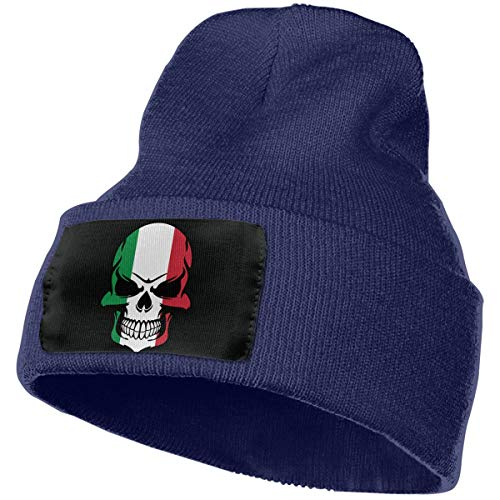 MXMAOM9MX Italian Flag Skull Warm Knitting Hat Mens Womens, 100% Acrylic Skull Cap (Italian Alpine Hat)