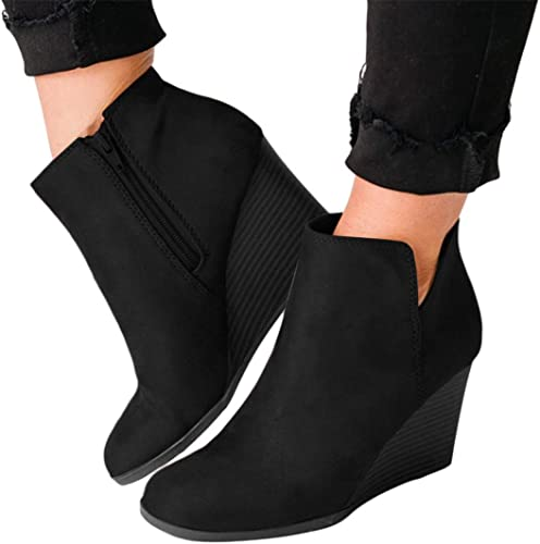 Padaleks Womens Wedges Ankle Booties Retro Flock Comfy Short Boots Side Zip Closure Stacked Chunky High Heels Shoes Winter Sneakers