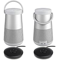 Bose SoundLink Revolve+ Bluetooth Speaker, Lux Gray - Pair for a True Stereo Sound w/ Charging Cradles - Bundle
