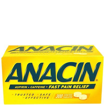 Anacin Fast Pain Relief Pain Reducer Aspirin Tablets, 300 Tablets