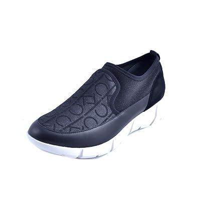 Calvin Klein SCARPE SNEAKERS SLIP ON DONNA PELLE E TESSUTO LOGATO GLITTER  NERO GOMMA COD. 4a496e1118a