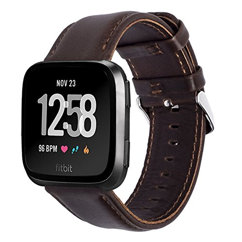 KADES Compatible for Fitbit Versa Band, Classic Genuine Leather Strap with Quick Release Pin Compatible for Fitbit Versa Smart Watch, 5.5-7.6 Coffee