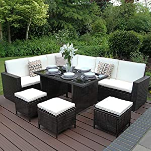 Rattan Garden Furniture Set 5 Piece Premium Corner Outdoor 9-Seater Lounge Dining Cushions Seat Glass-Topped Table Stool Sofa Conservatory Patio/Grey Brown Black/FREE Water-Resistant Cover (Brown)