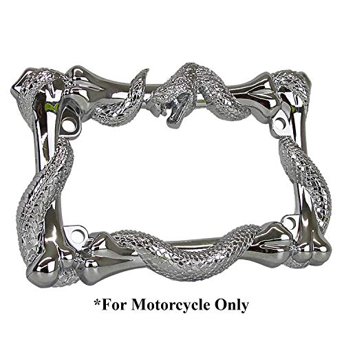 TC Sportline LPF262 3D Viper Snake and Bones Style Zinc Metal Chrome Finished Motorcycle License Plate Frame