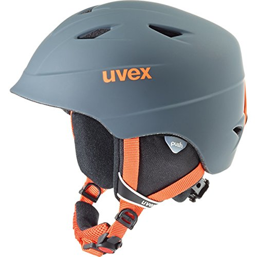 UVEX Kinder Airwing 2 Pro Skihelm, Titanium-Orange Mat, 52-54 cm