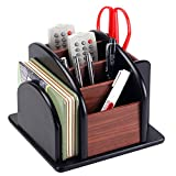 6-Compartment Wood Rotating Remote Caddy / Desktop Office Supply Organizer Holder
