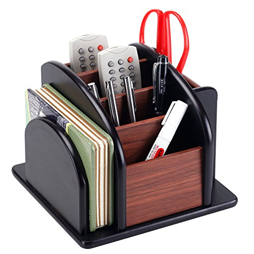 Crocodile Leather Pencil Cup - 6-Compartment Wood Rotating Remote Caddy/Desktop Office Supply Organizer Holder