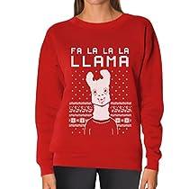 TeeStars - Fa La La Llama Ugly Christmas Sweater Funny Xmas Women Sweatshirt X-Large Gray