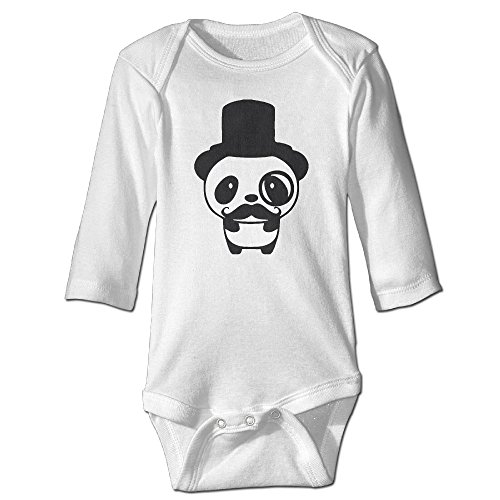 Price comparison product image Panda Obesessed With Mustache And Glasses White Long Sleeves Baby Bodysuit Onesies