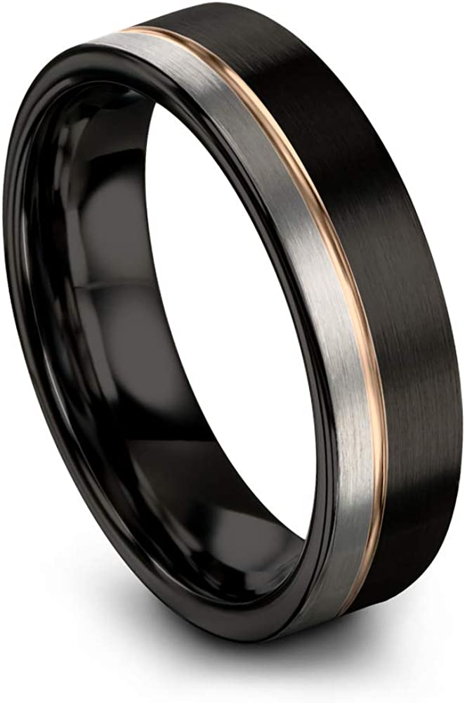 Midnight Rose Collection Tungsten Wedding Band Ring 6mm for Men Women 18k Rose Yellow Gold Plated Flat Cut Off Set Line Black Grey Half Brushed Polished