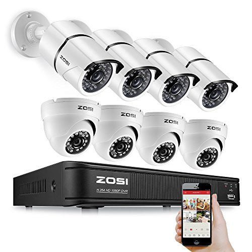 ZOSI 8CH 1080P TVI 2.0MP 1920TVL White Color Waterproof 100FT(30M)  Night Vision Security Camera System