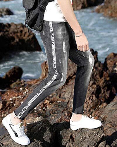 Ragazzi Jeans Skinny Lavati Pants Fori Chiaro Uomo Cher Colore Pantaloni Di 1820black Classiche Strappati Stretch Da OX8qX76