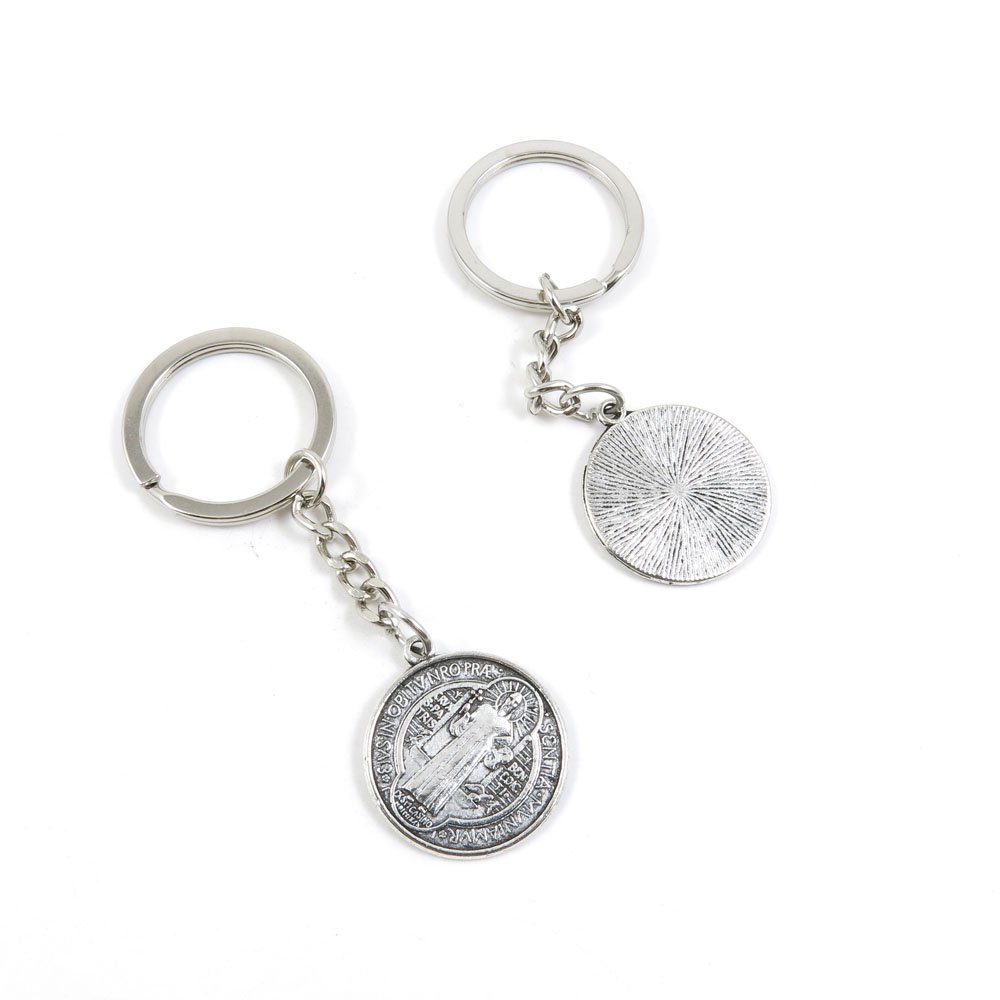 100 Pieces Keychain Door Car Key Chain Tags Keyring Ring Chain Keychain Supplies Antique Silver Tone Wholesale Bulk Lots N8VA6 CSSML NDSMD Cross