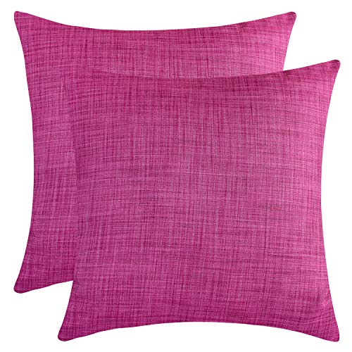 The White Petals Magenta Throw Pillow Covers - Luxurious, Elegant & Decorative (18x18 inch, Pack of 2) (Pillows Throw Magenta)