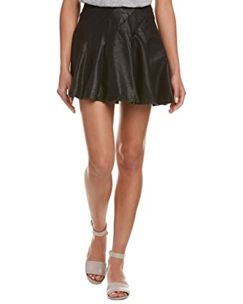 9de33d4ff2 Free People Womens Faux Leather Back Zip Flare Skirt at Amazon ...