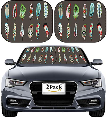 MSD Car Sun Shade Windshield Sunshade Universal Fit 2 Pack, Block Sun Glare, UV and Heat, Protect Car Interior, Image ID: 33201720 Feathers Painted with Colorful Ethnic Pattern