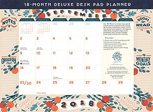 High Note 2018 18-Month Deluxe Desk Pad Planner: Beautiful Contemporary Organizer With Vintage Styling Featuring Unique, Original, Designer Art by Jill De Haan (CHX0309)